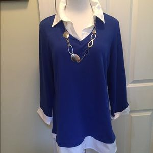 Karin Scott blue & white long sleeve tunic